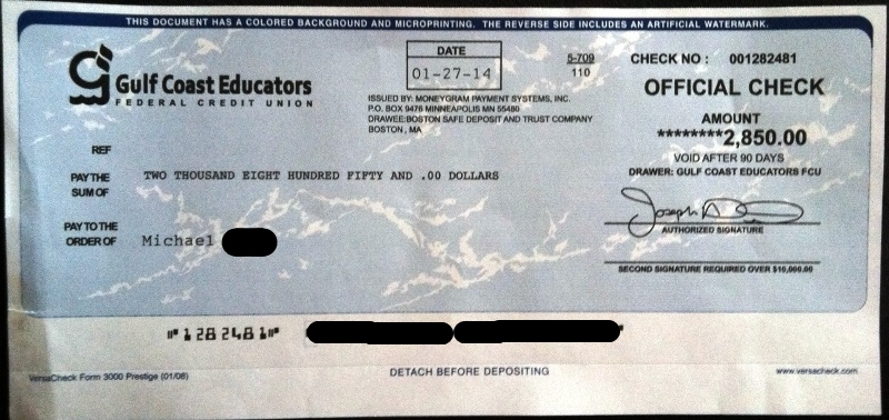 fraud official check photo