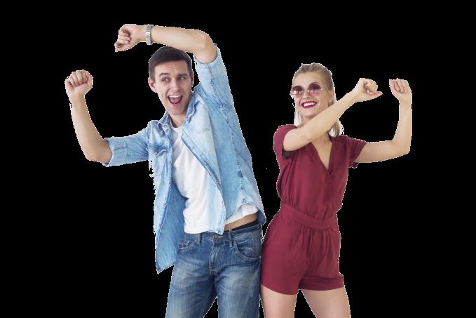 happy dance couple