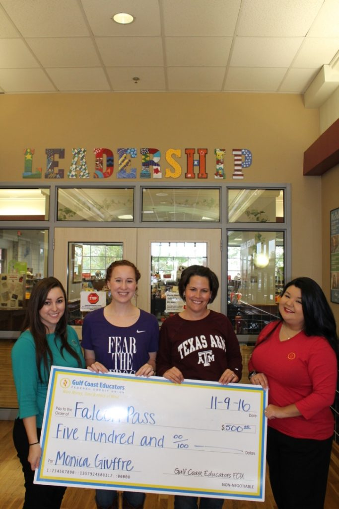 From left to right: Caylee Smith (GCEFCU), Paige Hutchison (Assistant Principal), Monica Giuffre (Principal), Kim Reyes (GCEFCU)