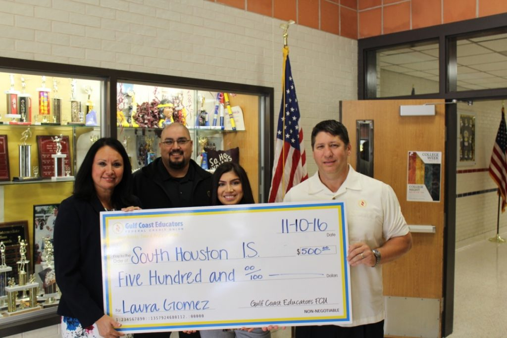 Pictured Left to Right: Laura Gomez (Principal), Eddie Bonilla, Jessica Rodriguez, Joseph Ditta (GCEFCU)