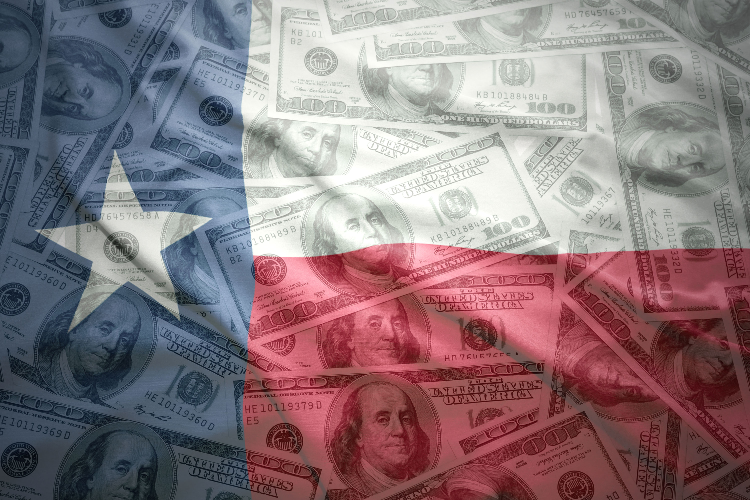 Money and Texas flag
