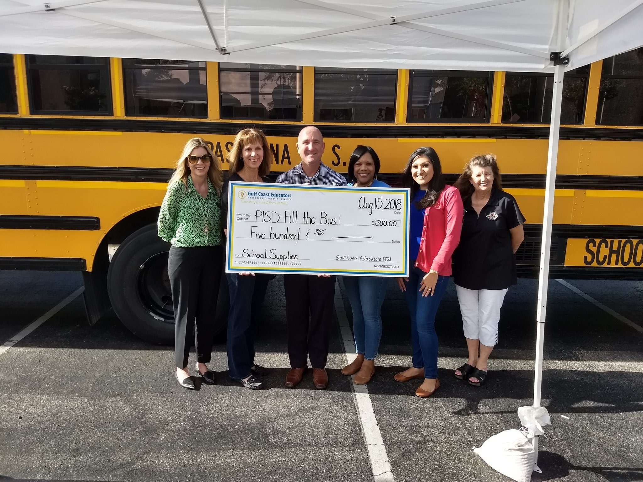 GCEFCU employees at Pasadena ISD's Fill The Bus Event