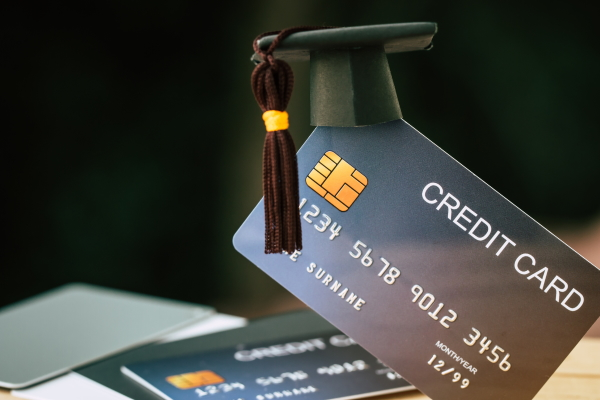credit card with graduation cap