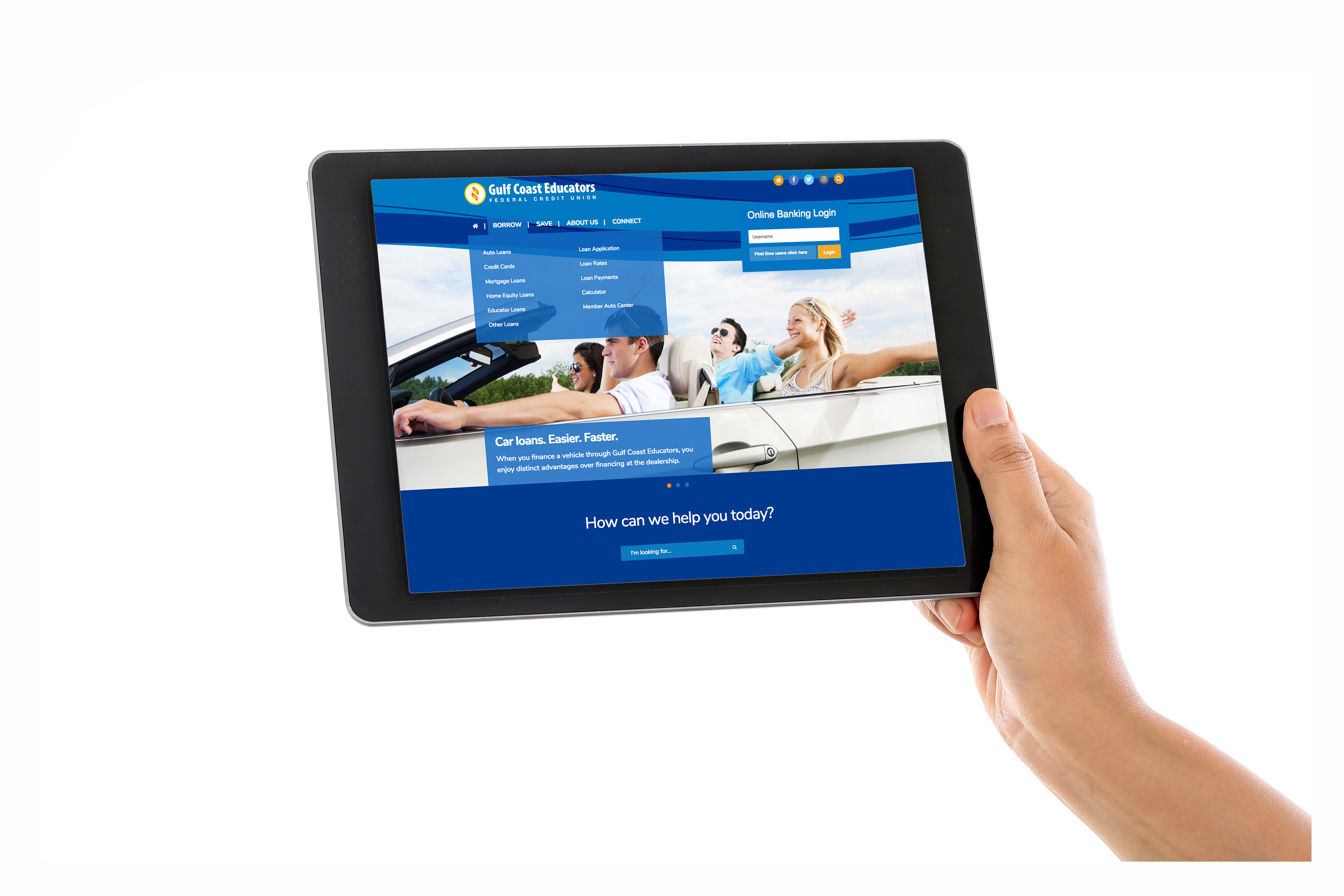 Gulf Coast Educators Federal Credit Union Holding Tablet Computer